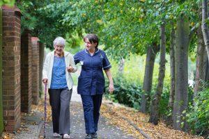 Elderly man woman receiving dementia care at home