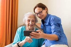Woman undertaking live-in carer responsibilities